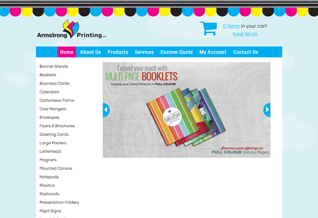 Home page image for website of Armstrong Printing
