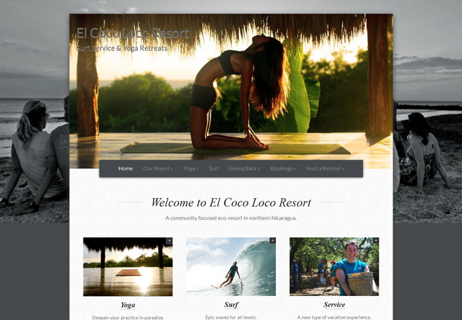 Home page image for website of El Coco Loco Resort
