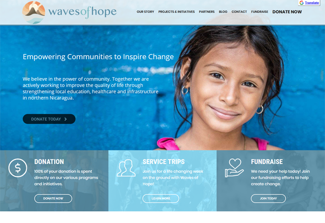 Home page image for website of Waves of Hope