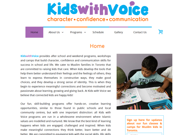 Home page image for website of Kids with Voice