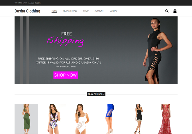 Home page image for website of Dasha Clothing