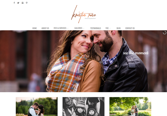 Home page image for website of Kristin Rose Photography
